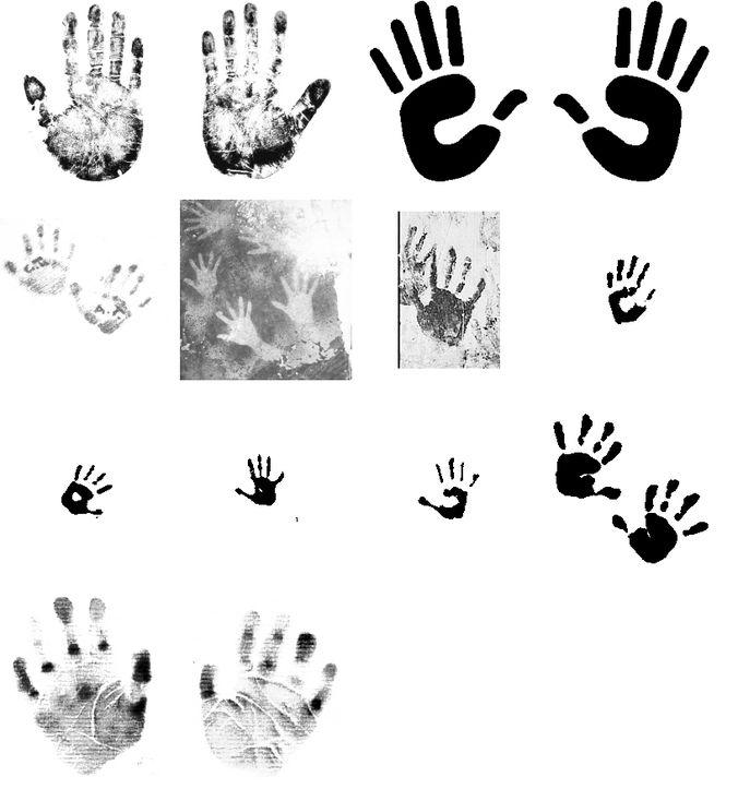 Hand print brushes