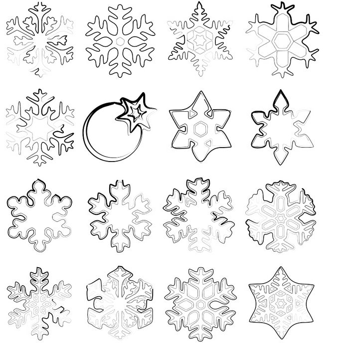 Symbols and snowflakes brush