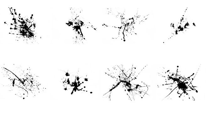 high-res ink splatters