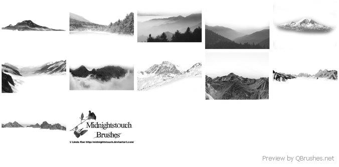 11 Mountain ranges brushes
