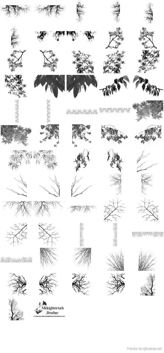 60 Tree branches brushes