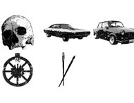 Car and skull brushes