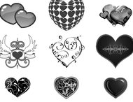 Lovely hearts brushes