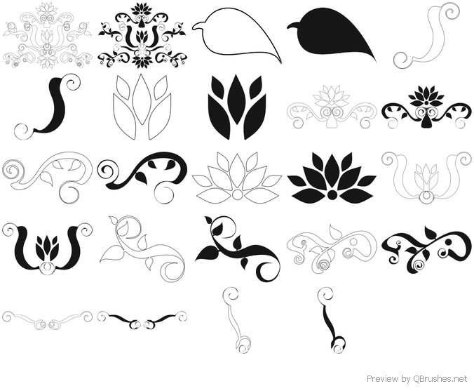 Decorative Floral Brushes