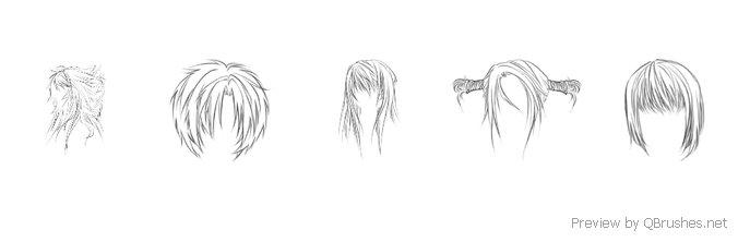 Anime hairs brushes