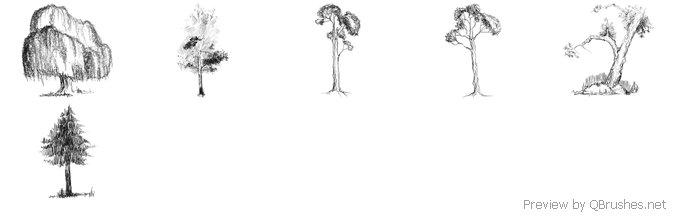 6 Hi-res doodled trees