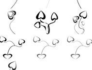 Heart flowers brushes