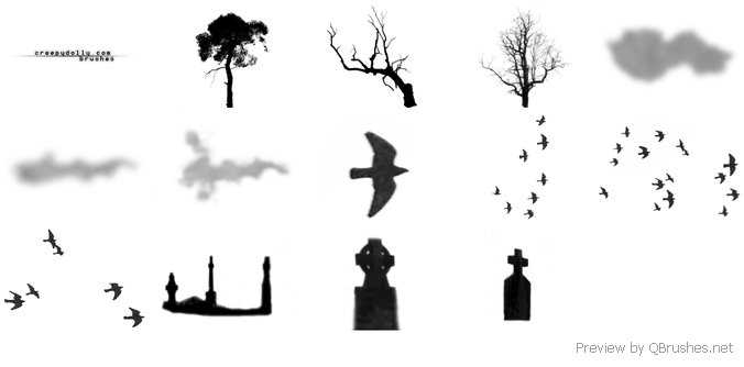 Spooky trees brushes