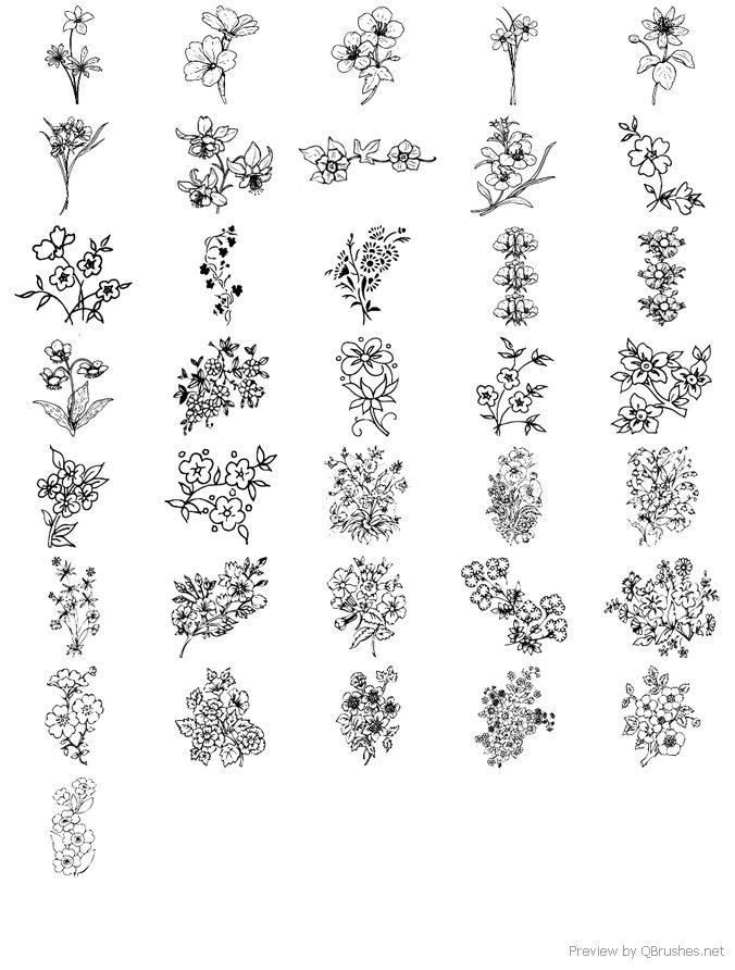 36 Flower brushes