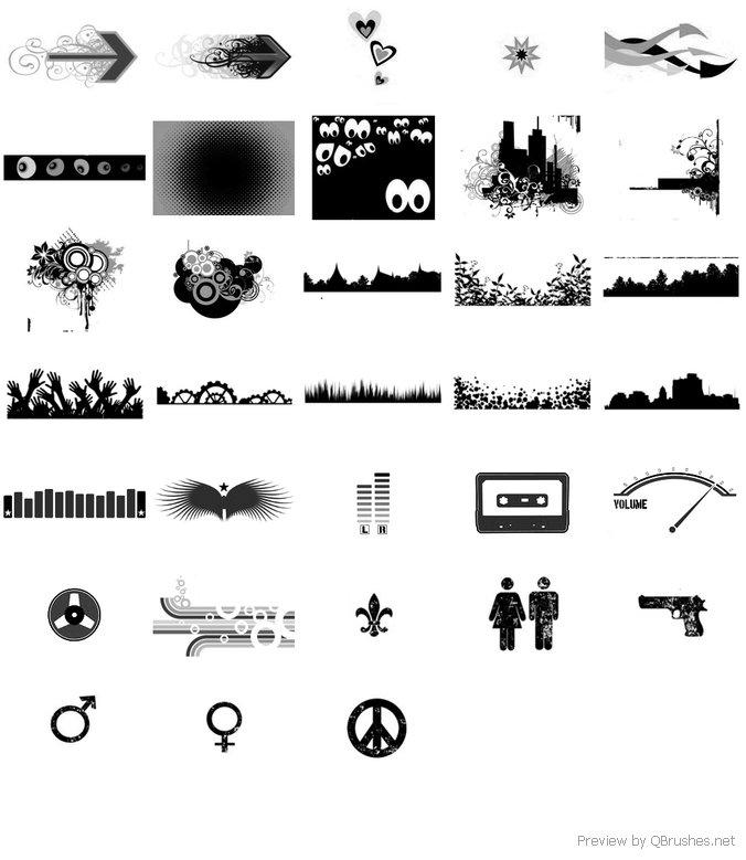 Symbols, circle, arrow, building brush