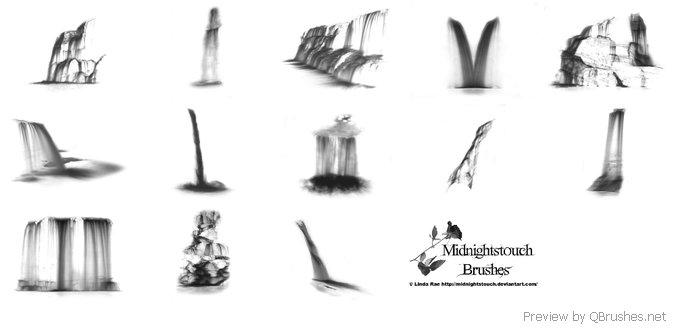 12 Photoshop 7 waterfall brushes