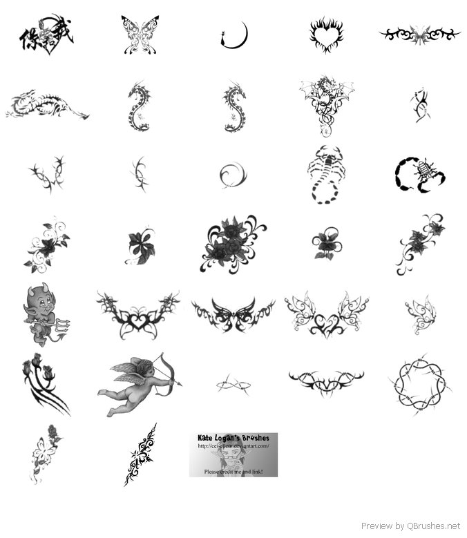 Heart and tattoos brush