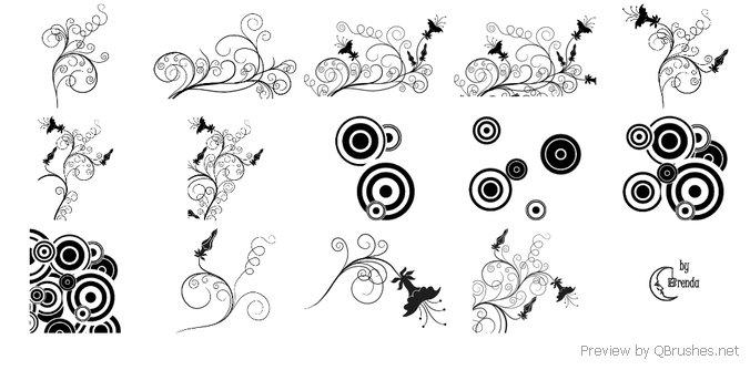 Swirls And Flowers Brush