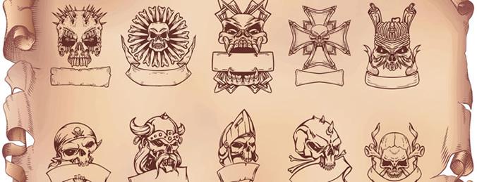 10 skull Brushes